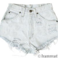 "ALL SIZES ""PLAINO"" Vintage Levi high-waisted denim shorts light blue white distressed frayed jeans"