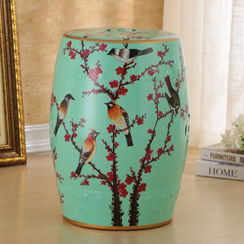 Chinese antique style flower and bird design ceramic stool