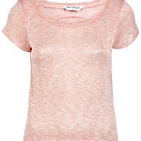 Peach Lurex Dippy Tee - Tops  - Apparel