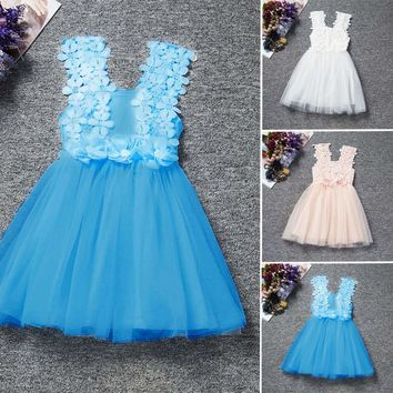 Toddler Baby Girls Lace Princess Flower Pageant Wedding Party Tulle Tutu Dress