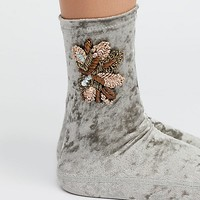 Kisses Embellished Velvet Sock