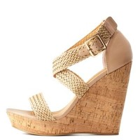 Nude Basket-Woven Wedge Sandals by Charlotte Russe
