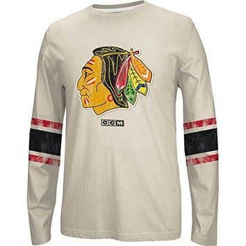 Chicago Blackhawks Long Sleeve Retro Logo Crew Neck Tee