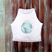 Earth Crop Top-White Crop Top-Yoga Crop Top-American Apparel