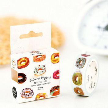 S41 1.5cm Wide Delicious Donuts Paper Washi Tape Adhesive DIY Scrapbooking Sticker Label Masking Tape Correction Tape Gift