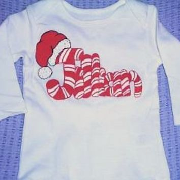 Personalized Candy Cane Name Infant Bodysuit - Handmade Crafts by Splashin