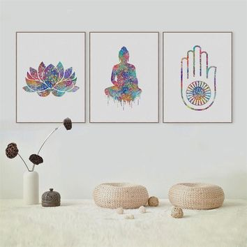 Watercolor Buddha Lotus Unframed Painting Solemn Buddhism Simple Style Inkjet Oil Canvas Painting Ink Painting Poster Wall Art