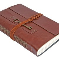 Large Brown Faux Leather Journal with Heart Key Charm