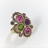 Purple and pink rhinestone ring, gold vintage ring, green rhinestone adjustable ring, 1960s vintage statement ring, vintage rhinestone ring