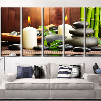 Extra Large Wall Art Bamboo and Stone, Leaves and Stones Candle Canvas Print, Zen Yoga Relax Wall Art, Massage Relax Canvas Print