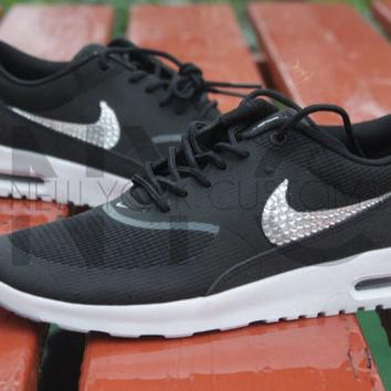 Nike Air Max Thea Black Wolf Grey White Swarovski Crystal Accent Blinged Out Custom Wo