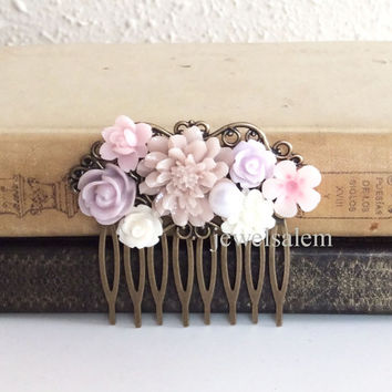 Lilac Wedding Hair Comb Mauve Soft Purple Dusty Pink Light Lavender Orchid Flower Headpiece Woodland Bridal Floral Hair Pin Bridesmaid PM