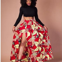 Long Sleeve Bodycon Crop Top and Printed Front Slit Maxi Skirt