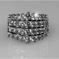 Francis Four Rolls Decending Cocktail Ring | 8 Carat | Cubic Zirconia | Silver