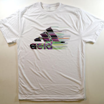 acid glitch adidas parody logo cyber grunge club kid goth rave 90s punk internet tumblr psychedelic stoner kawaii athletic ghetto T-shirt
