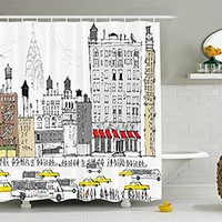 Hippie Boho Americana Shower Curtain by Ambesonne, Busy City Traffic Jam Yellow Taxi Cab Urban Cartoon Design Modern Style for Art Prints Polyester Fabric Bath Accessories, Gray Red Brown
