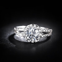 H&A 1.2CT Halo engagement ring, woman promise ring, woman wedding bands, couple rings, woman matching ring, infinity Ring, the ring woman