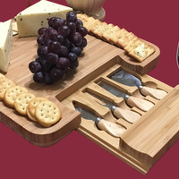 Bamboo Cheese Board & Cutlery Set with Slide-Out Drawer