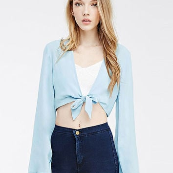 V-neck Lace-up Bell Sleeve Chiffon Cropped Blouse
