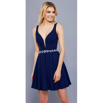 Deep V-Neckline Short Cocktail Dress -Line Embellished Waist Navy Blue