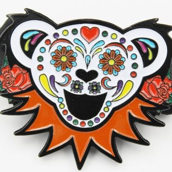 Grateful Dead Bear Head With Roses Pin