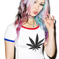 O Mighty Marijuana Ringer Tee White