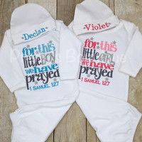 Newborn twins coming home outfit For this Little Boy or Girl I or WE have Prayed gown and hat