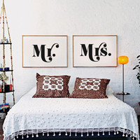 Mr and Mrs Set of Two Prints - Black & White Typography Poster - Love - Wedding