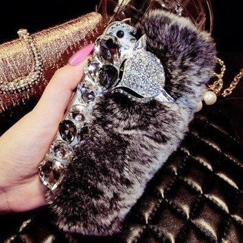 Phone Case For iPhone 7 iPhone 7 plus  Soft Skin fluffy Winter   Bling Rhinestone Luxury 3D Real Rex Rabbit Fur