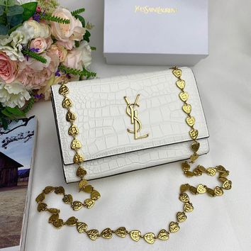 Kuyou Gb99822 Saint Laurent Twist Chain Messenger Bag In White Smooth Leather 22x15cm