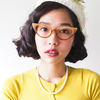 Vintage Style Eyeglasses cat eye By Lemon Eyeglass CO. Brown mutli color Frames Good size