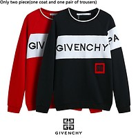 Givenchy hot selling monogram embroidery Logo jumper fashion casual couples patchwork color suits