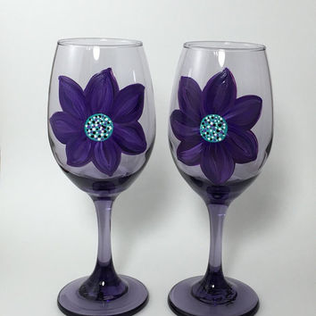 Wine Glasses in Purple Set of Two Hand Painted with Flowers