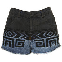 MOTO Dip Dye Aztec Embroidered Denim Hotpants - Denim  - Apparel