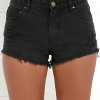 Billabong Highway Washed Black Distressed Cutoff Denim Shorts