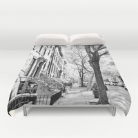 Cobble Hill Brooklyn Winter Black and White Brownstone Duvet Cover by ANoelleJay
