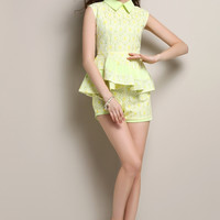 Light Yellow Flounce Hem Top and Short