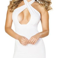 Sexy Amber Crossover Halterneck Mini Party Dress