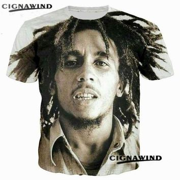 New fashion tees Singer Rap Hip hop T-shirts Reggae originator Bob Marley 3d print t shirt Men/Women casual O-Neck streetwear