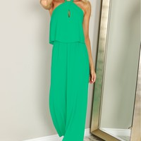 High Neck Halter Maxi Dress Emerald