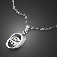 women fashion genuine solid silver jewelry,sterling silver pendant necklace