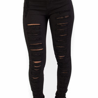High Waist Black Perfect Fit Distressed Jeans