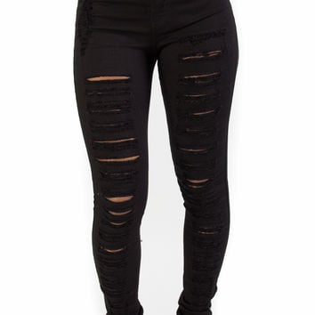 Black High Waisted Distressed Jeans