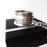 Antique Solid Silver Napkin Ring, Sterling Serviette Ring, Hallmarked Sterling Silver, Godparent, English Silver, Baby Shower, Wedding Gift
