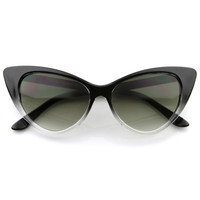 Super Cateyes Translucent Gradient Fade Mod Chic High Pointed Cat-Eye Sunglasses