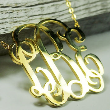 3 inch Monogram necklace - 18k Gold Monogram necklace- Bridesmaid necklace, Monogrammed Gift, Monogram Jewelry --LBE