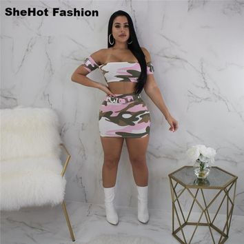 Women Sexy Casual Camouflage Two Piece Crop Top Skirt Set