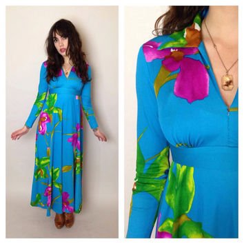 70's FLORAL MAXI DRESS - empire waist - long sleeves - a-line skirt - bright blue - x-small/small