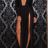 Black Plunging V-Neckline Long Sleeve High Slit Maxi Dress