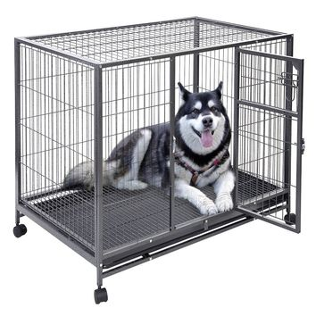 44'' x 29'' Metal Wire Pet Crate Cage Made of heavy-duty and non-toxic steel wire, the pet cage ensures a large and secure space for your beloved pets.